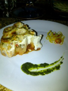 3rd course: Deconstructed vegetarian lasagne (Photo: Carissa Hickling)