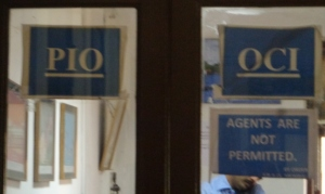 "Check it out - PIO + OCI have their own office specifically barred to ""agents"" (Photo: Carissa Hickling)"