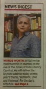 Hanif Kureishi on the 1st page of the TOI