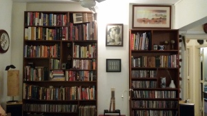 Twin bookshelves - famous (left) + newbie (right)