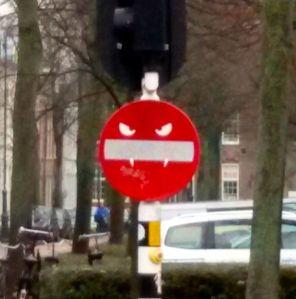 Someone has a sense of humour... vampirish stop sign?