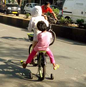 Girls cycling at Bandra's Equal Streets - Some are not so lucky