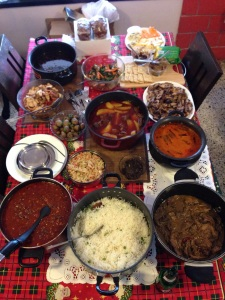 Christmas feast with leftovers at our Boxing Day Brunch
